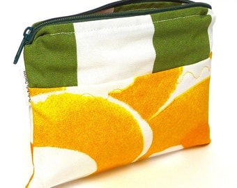 Green stripe and yellow cosmetic bag with custom stitching, make-up bag, gadget bag One of a Kind