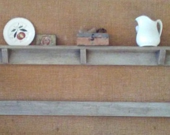 Hand made and Distressed Mantel Mirror with Shelf and Plate Rack