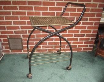 Vintage Mid Century Modern Black Metal Rolling Table Serving Cart