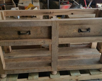Ready To ship Custom Rustic Barn Wood Vanity or Cabinet with a Shelf and FREE SHIPPING - BWV500C