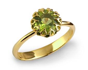 CROWN 14k Gold Peridot Ring, Unique Peridot Engagement Ring, Large Peridot Ring, Gold Statement Ring, Peridot Solitaire Engagement Ring