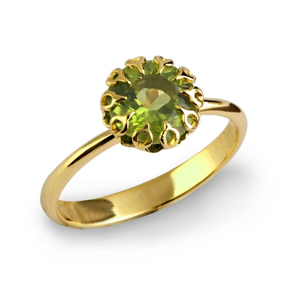 crown 14k gold peridot ring unique peridot engagement ring
