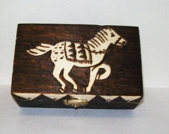 Horse Folk Art Box, OOAK Pyrography on Wood, Woodburned Stylized Pony, Jewelry Storage, Uni-Sex Container, Home Decor, Sepia And Brown