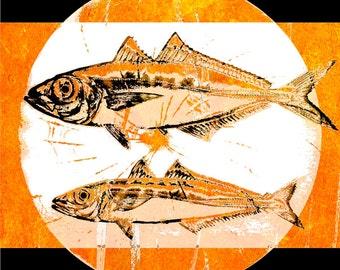Fish Art, Home Decor, Abstract Aquatic, Nautical Wildlife, Swimming Lake Water Ocean Sea, Orange Black, Wall Hanging, Giclee Print, 8 x 8