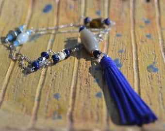 Leather Tassel Necklace.  Blue Suede Tassel. Lapis Lazuli, Agate, Amazonite Necklace.  Rustic Silver Chain Necklace. Boho Jewelry.