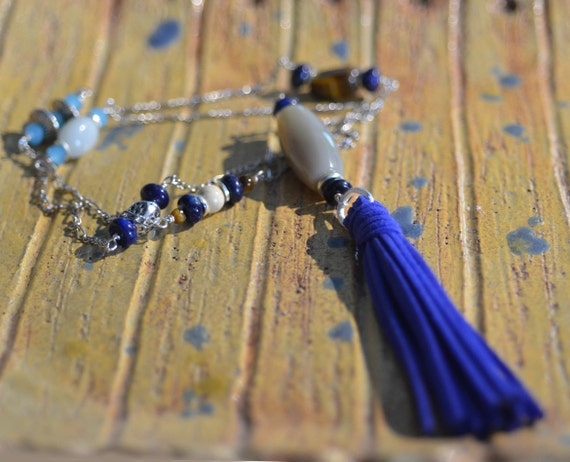 Blue Tassel  Necklace.  Lapis Lazuli - Agate - Amazonite Necklace.  Earthy Rustic Bright Blue -  Silver Chain Necklace. Boho Jewelry.