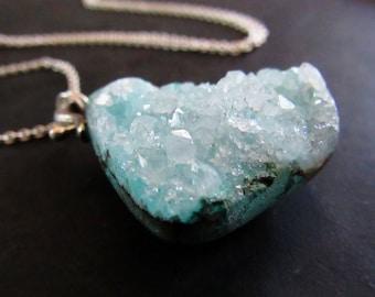 Chrysocolla Druzy Necklace, Sterling Silver Jewelry, Blue Stone Pendant, Bohemian Jewelry, Long Boho Necklace