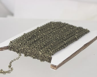 32 ft Antique Brass Satellite Chain Flat BALL Chain - 2.4x1.7mm SOLDERED link - Antique Bronze Tiny Small Ball Flat Cable Chain