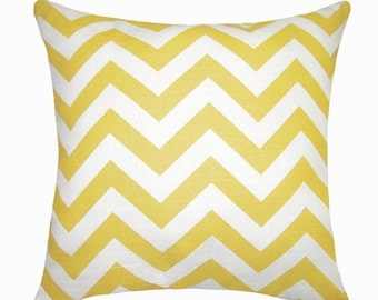 Chevron Yellow and White Outdoor Decorative Throw Pillow - Sunny Yellow and White Zig Zag - Free Shipping