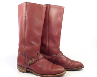 Frye Riding Boots Vintage 1980s whiskey Brown Leather Boots Flat Women's size 7 1/2 B