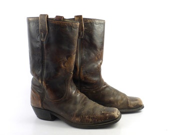 Campus Leather Boots Vintage 1970s Wrangler Distressed brown Cowboy men's size 10 D