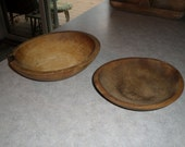 RESERVED Heidi Large & small antique wooden BOWLs primitve wood farm dough butter fruit bowl
