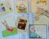 Little Easter Wishes in Earlier Easter Cards circa 1930s 1940s Smaller in Size Vintage Easter Lot No 28 Bunnies Chicks