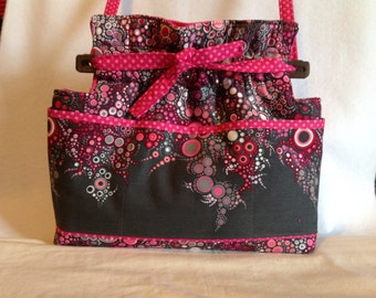 Reversible Effervescence bubbles dots Pink fabric handbag Purse cotton quilted