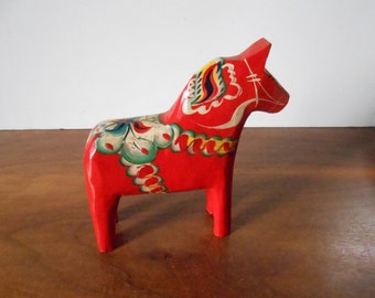 Vintage Swedish Red Handpainted Wooden Dala Horse, Grannas A. Olsson, Folk Art