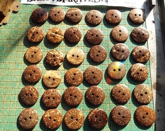 36 XL coconut shell buttons,  1 1/2 inch blemished buttons, WYSIWYG blems, GP-Z2