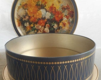 Vintage Sunshine Biscuits Tin Container with Classic Paintings by Renoir and Redon