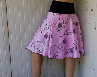 Organic Cotton Skater Skirt - Pink Floral Print - Organic Cotton Sateen - Many Prints Available - Made to Order - Boho Chic Eco Fashion