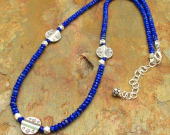 Lapis Lazuli Thai Hill Tribe Silver Necklace - String of Blue