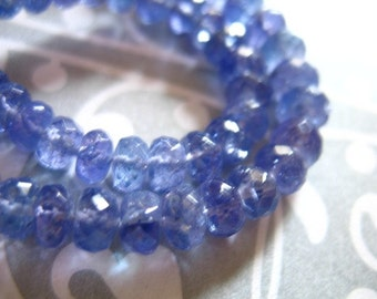 Shop Sale.. 5 10 25 50 pcs, TANZANITE Beads Rondelles, Luxe AAA, 3-4 mm, Periwinkle Blue, faceted, bridal december birthstone 34 solo
