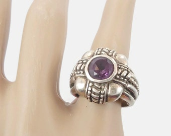 Amethyst Ring, Sterling Silver Ring, Vintage Ring, Big Statement, Purple Stone Ring, Vintage Jewelry, Gothic, Boho, Bohemian, Size 6.5