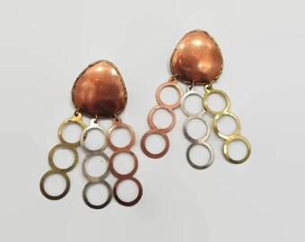 Copper Earrings, Brass Brutalist, Boho Statment, Mixed Metal, Big Dangles, Mod Jewelry, Bohemian, Modern, Unique Unusual, Vintage Earrings