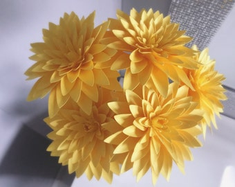Paper flower set of 12 stems of crysanthamums in any color