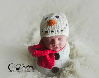 Frosty Snowman SeT Christmas Newborn Photo Props, Holiday Photography Prop, Baby Props, Scarf, Sack, Photo Props, Handmade Baby Boy, Girls