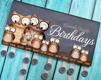 Personalized BIRTHDAY BOARD Owl Forest Woodland Family Birthdays Teacher Classroom Birthday Wall Décor Organizer Grandparent Gift Bb0001