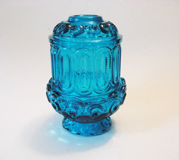 1970s Blue Moon And Stars Fairy Lamp Votive Candle Holder Le