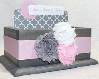 Baby Shower Guest Book, Guest Book Box, Advice Box, Pink and Gray Guest Book, Alaternative Guest Book, Baby Girl, Pink and Gray Baby Shower