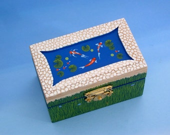 Valentines day gift-hand painted wood-trinket treasure gift jewelry box-Koi pond inset-cobblestone-botanical keepsakes-ooak 3D art-stash box