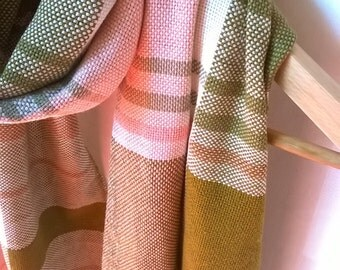 Spring Summer Big Scarf in Linen Silk Cashmere - Cotton Hand Woven Natural Fabric