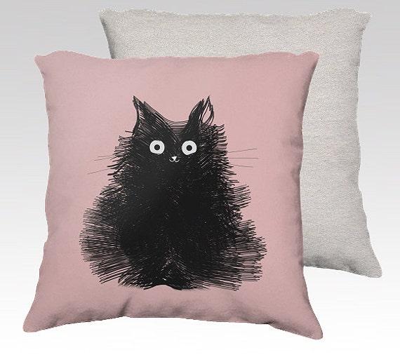 Подушка черный кот