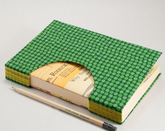 Journal, Notebook, Sketchbook or Guestbook, Hand-Bound with a Rich Green Polka Dot Cover