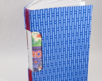 Journal, Notebook, Sketchbook or Guestbook, Hand-Bound with a Bright Blue Geometric Cover and Robots!
