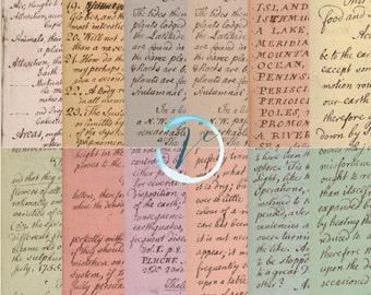 Instant Download - Vintage Handwriting Paper 12x12 printable paper set digital download