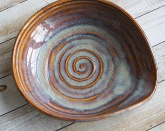 Extra Large Rustic Spoon Rest in Earthy Amber Glaze Stoneware Pottery Utensil Dish Ready to Ship Made in USA