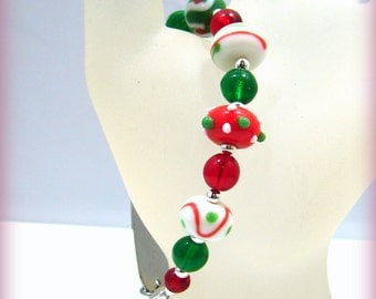 Fun Christmas Holiday Red Green Medical ID Replacement Bracelet