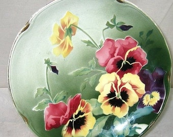 ON SALE Antique Vintage Made in France Keller et Guerin French Faience Majolica Pansy Floral Plate