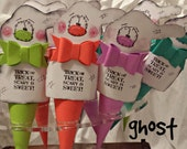 NEW Paper Cones - Ghostly BOO BAGS, Handmade Paper Piecing, GingerberryCreek Ghost Pattern, Halloween, Whimsical, Standard Size (8-count)