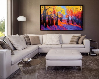 LARGE AUTUMNAL FOREST painting, trees in autumn art, orange yellow foliage, nature forest in autumn colors, orange purple sunset in the wood