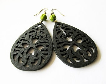 Black Filigree Wooden Earrings with Green Fluted Glass Beads