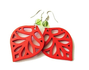Red Wooden Leaf Earrings with Green Glass Beads