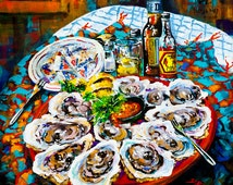 Slap dem Oysters! Painting, Louisiana Seafood, Raw Oysters New Orleans Food Art, Louisiana Raw Oysters, Louisiana Art by New Orleans Artist