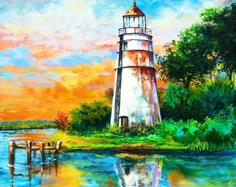 Madisonville Tchefuncte Lighthouse, Madisonville, Louisiana, Maritime Art, Lighthouse Art Reproduction, GICLÉE Canvas or Print FREE SHIPPING