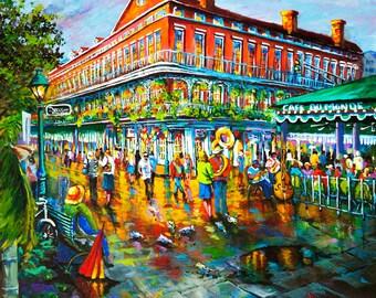 Café du Monde, Beignets in Jackson Square, Impressionist Street Scene, Pontabla on Decatur, New Orleans French Quarter  - 'Decatur Evening'
