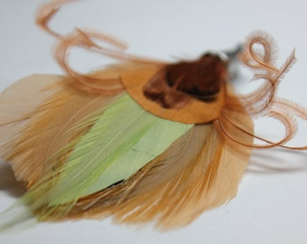 """Men's Lapel Pin, Feather Boutonniere, Hat Pin Brooch """"Munchkin"""" - beige, green,cocoa feathers with silver toned pin base"""