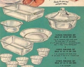 Vintage 1950s 1952 original magazine ad advertisement - Fire-King ovenware