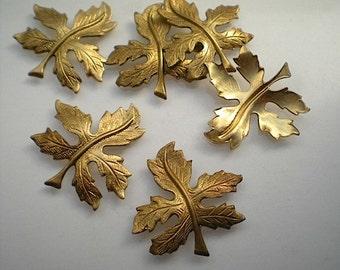 6 brass leaf charms, No. 3